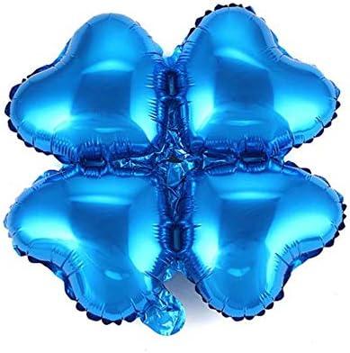 ZheJia パーティーバルーンに適しています 18インチ四つ葉のクローバーアルミホイルバルーン 誕生日、バレンタインデー、結婚式、パーティー、お祝いのオープニング、アーチ 20 アルミホイルバルーン Blue