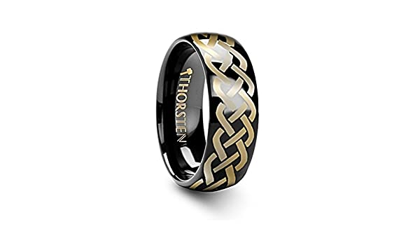 Thorsten IDASON Celtic Knot Design Print Pattern Ring Domed Shape Black Tungsten Ring 4mm Wide Wedding Band from Roy Rose Jewelry