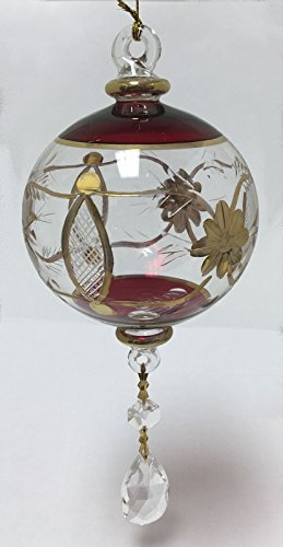 Red and Gold Ball Egyptian Glass Dangling Christmas Tree Ornament Made in Egypt O Christmas Tree In German