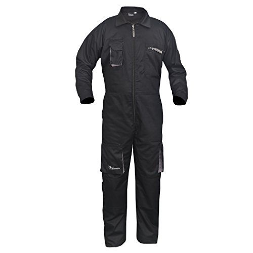 Black Work Wear Men's Overalls Boiler Suit Coveralls Mechanics Boilersuit Protective (2XL) by Norman (Image #2)