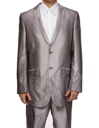 New Mens Silver Slim Fit Sharkskin 2 Button Dress Suit (Jacket & Pants)