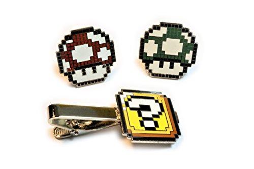 Super Mario World ? QUESTION BLOCK BOX TIE BAR CLIP Pixel SNES Suit Wedding RED GREEN MUSHROOM CUFFLINKS SET