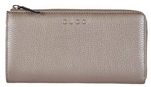 Gucci Women's Pebbled Leather Quarter Zip Wallet 332747 9504 Metallic Golden Beige