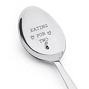 Eating For Two With Little Heart- Cute Spoon - Engraved Spoon - Sweet Baby Shower Gift Idea- Best Selling Item -Engraved Unique Gift Ideas - Spoon Gift