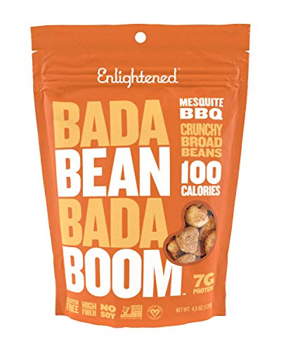 Enlightened Bada Bean Bada Boom Plant Protein Crunchy Broad Beans Snacks, Mesquite BBQ, 4.5 Ounce (Single Bag) ()