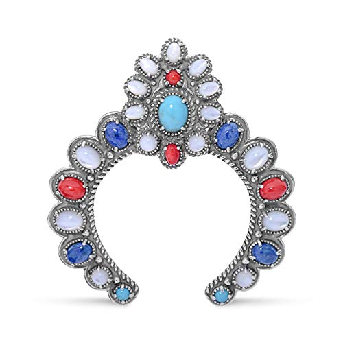 (American West Sterling Silver Blue Lapis, Turquoise, White Mother of Pearl and Red Coral Gemstone Naja Pendant Enhancer)