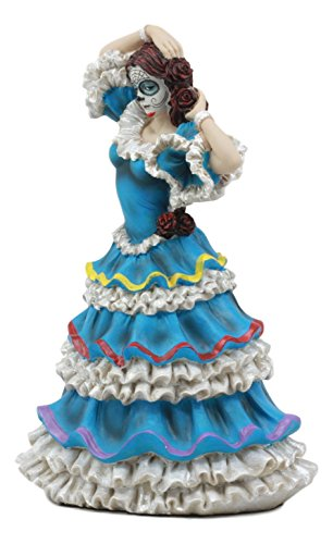 Ebros Dia De Los Muertos Day Of The Dead Traditional Blue Gown Dancer Statue Sugar Skull Vivas Calacas Figurine]()