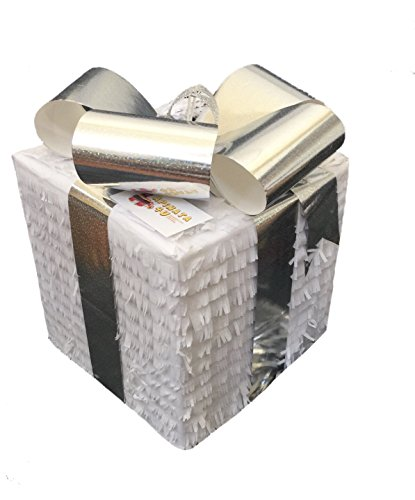 APINATA4U White & Silver Box Pull Strings Pinata]()