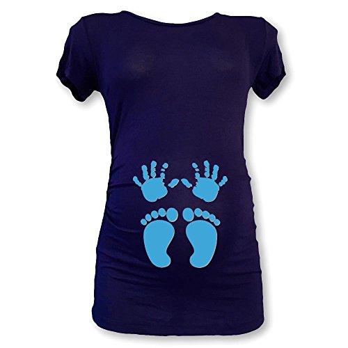 Piedini Maglia Blu Azzurra Bianca E Grafica T Shirt Manine Premaman L wq7aXv6