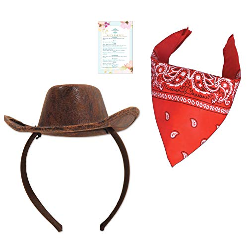 BBEnterprises Cowboy Hat (Attachable Headband Included) with Red Bandanna for Babies and Children! Perfect for Photos ! ()