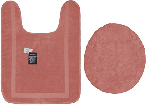 CLOSEOUT SAVINGS! Eco-Friendly 100% Turkish Cotton Bathroom Rug Set - (Contour Toilet Rug and Matching Seat Lid Cover) 2 Piece Set - Salmon (Standard Cover Toilet Lid Seat)