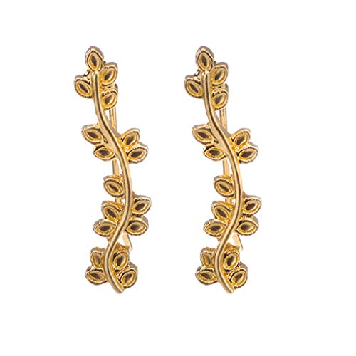 (Metal Leaf Earring Stud Metal Feather Multi-Layered Leaf Earring Hook Stainless Steel Jewelry Gift for Women Earring)