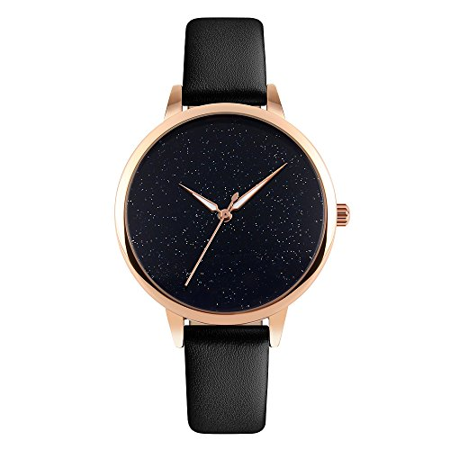 Womens Watches Leather Band Quartz Watch Women,Waterproof Rose Gold Ladies Wrist Watches (black)