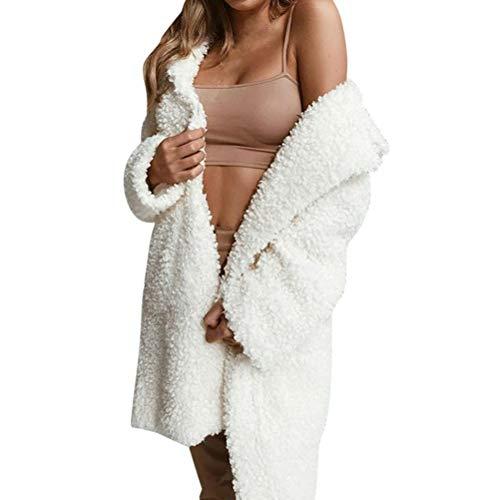 Faux Shearling Coat,Women's Winter Elegant Notch Collar Thick Warm Outerwear Tunic Jacket (Nylon Notch Collar Knit Jacket)