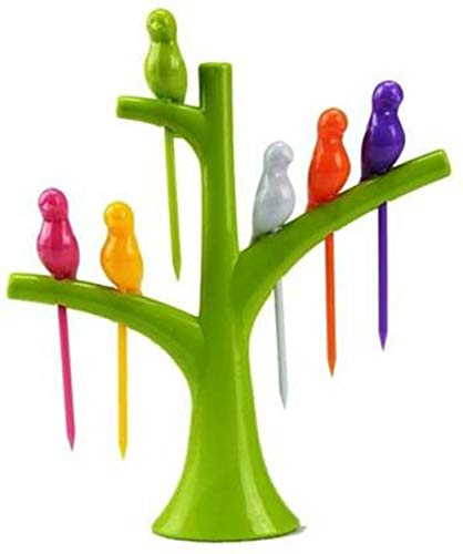 Mital Collection Birdie Plastic Fruit Fork Set with Stand, 12 Pieces, Multicolour