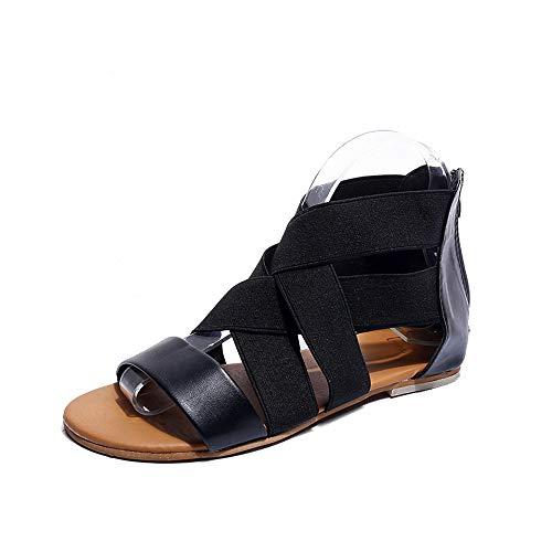- Womens Flat Slippers, Ladies Summer Low Heel Flip Flops Sandals Fashion 2019 Beach Roman Shoes ❤️Sumeimiya Black