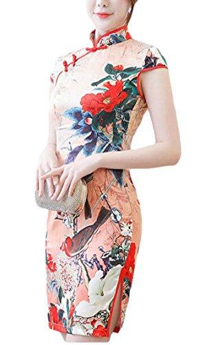 Chinese Print Sleeve Cheongsam Jaycargogo Women 8 Qipao Short Mini Dress HqYYZ6x