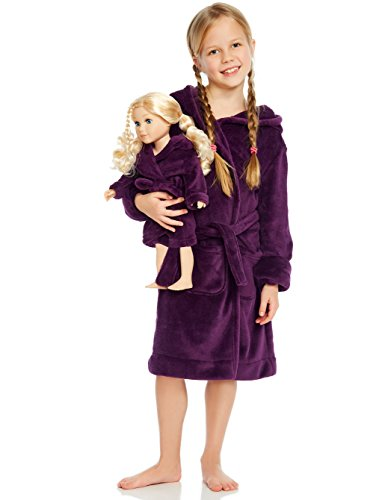 Leveret Purple Matching Doll & Girl Hooded Robe 6 Years]()