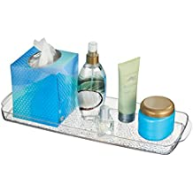 mDesign Bathroom Countertop or Toilet Tank Storage Tray for Towels, Candles, Jewelry - Clear