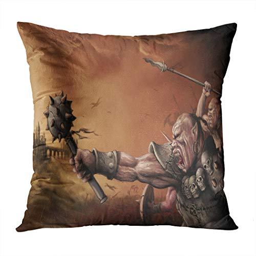 Wesbin Throw Pillow Cover Digital Illustrated Fantasy Medieval Battle War New Living Hidden Zipper Home Sofa Decorative Cushion 18x18 Inch Square Design Print