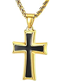 Mens Stainless Steel Cross Pendant Necklace Flower Basket Chain