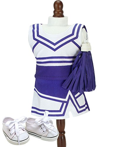 Sophia's Purple Cheerleading Realistic Set | 18 Inch Doll Cheerleader 4 Piece Set with Pom Poms and Shoes