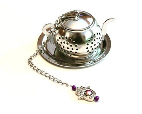 Pink and Purple Beaded Teapot Tea Infuser with Hamsa Hand (Beaded Pot)