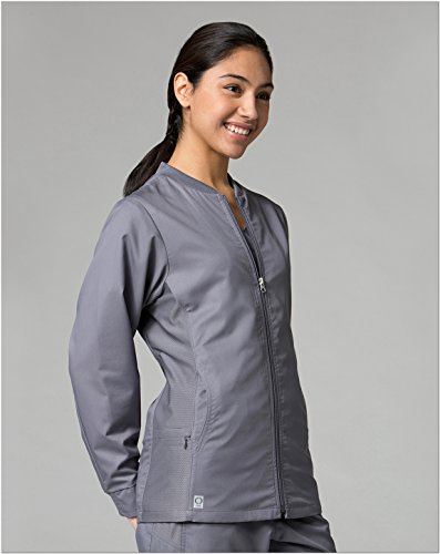 EON Women's Coolmax Mesh Panel Solid Scrub Jacket Small (Jewel Trim Jacket)
