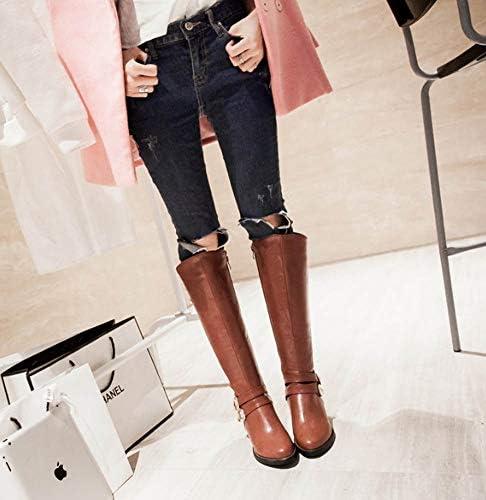 Scarpe Grande Vestito al Ginocchio Stivali Knigh Boot Donne 5cm Chunkly Heel Belt Buckle Parte UE Taglia 31-47,Marrone,42EU