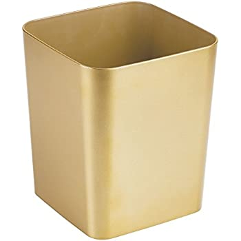 MDesign Square Shatter Resistant Plastic Small Trash Can Wastebasket,  Garbage Container Bin For Bathrooms, Powder Rooms, Kitchens, Home Offices    Soft Brass ...