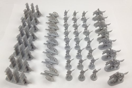 (Napoleonic & Civil War Military Miniatures (Grey): Plastic Toy Soldiers Set: Infantry, Cavalry, Artillery, Ships)