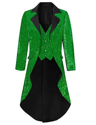 Mens Tailcoat Jacket Costume Halloween Green Glitter Sequins Blazer Jacket for Circus ()