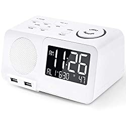 Alarm Clock Radio FM Digital Led Display Radio with USB Port Dimmer Snooze Sleep Timer Dual Alarms for Bedroom
