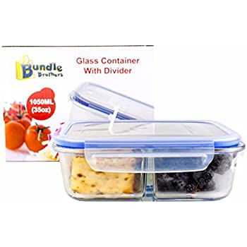 Glass Meal Prep Food Storage Portion Control Container 2-Compartment Divider with Locking Lid/Premium Quality/BPA-FREE/Air Tight/Leakproof/Freezer/Oven/Dishwasher/Microwave Safe (1-3 pc sets)35 oz (1)