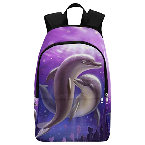 InterestPrint Underwater Two Love Dolphin Purple Casual Backpack College School Bag Travel (Dolphin Bag)