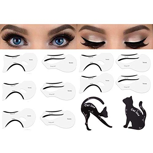 ROWAG 12pcs Pro Eyeliner Stencil Cat Line Eye Tool Smokey Eyes Makeup Eyebrow Models Card Template