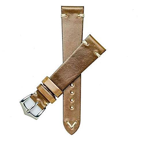 - Milano Straps Brown Cordovan Watch Strap - Made of Shell Cordovan - Durable & Flexible - Yellow Gold Polished Buckle - Shining Replacement Strap - Perfect for Men & Women, 20mm