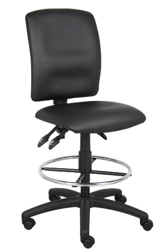 Boss Office Products B1645 Multi-Function LeatherPlus Drafting Stool without Arms in Black by Boss Office Products