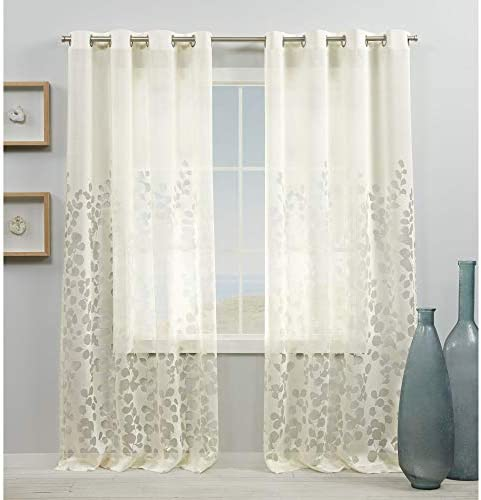 Exclusive Home Curtains Wilshire Burnout Sheer Grommet Top Curtain Panel Pair
