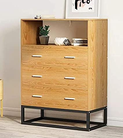 Amazon.com: Chester Drawers - Light Brown Wood Black Metal Frame ...