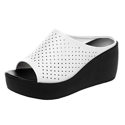 AIYOUMEI Damen Offene Plateau Keilabsatz Pantoletten mit Perlen Bequem Sommer Slipper Sandalen Schuhe  39 EURosa