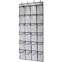 MISSLO Over The Door Shoe Organizer 24 Large Mesh Pockets, White