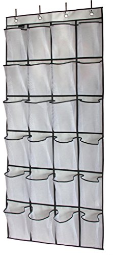 Hanging Door Organizer - MISSLO Over The Door Shoe Organizer 24 Large Mesh Pockets, White