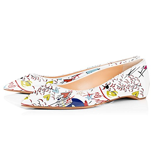onlymaker Women's Casual Pointed Toe Ballet Comfort Soft Low Heel Flat Shoes For White Graffiti XqWll