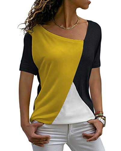 ZJCT Womens Tops Casual Tee Shirts Short Sleeve Patchwork Color Block Loose Fits Tunic Tops Blouses Yellow/Black L ()