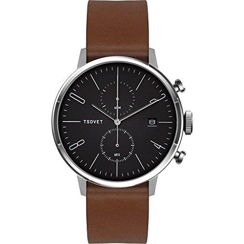 Tsovet-JPT-CC38-Analog-Quartz-StainlessBlack-w-WhiteDrk-Brown-Watch