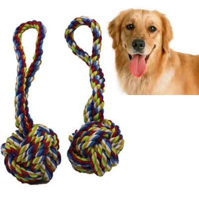 Dog Rope Toy with Ball,Lonni 2 Packs Interactive Pet Chew Toys,Dog Knot Tug Balls with Handle for Aggressive Chewers Teeth Cleanning Playing(Medium Large Dogs,Random Color) - Large Rope Knot Ball