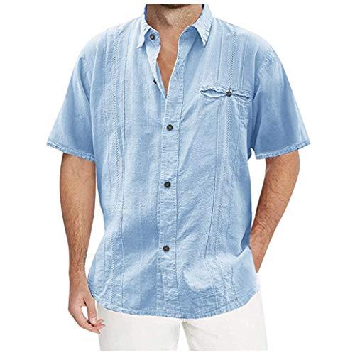 Uqiangy Men's Casual Loose Pocket Solid Beach Short Sleeve Button Guayabera Shirts(Blue,XXL) (Center Stores Town Beach Long)