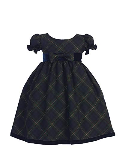 Holiday Christmas New Year's Girl's Dress Green Plaid Infant S 3-6 -