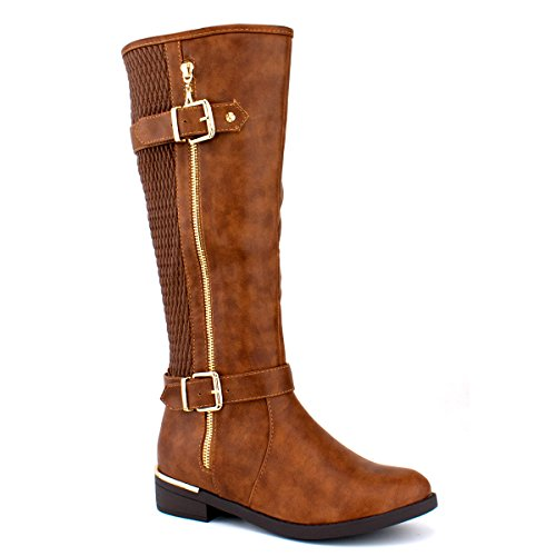 Premier Standard Damen Quilted Side Zip Kniehohe Flat Reitstiefel - Trendy High Heel Schuh - Sexy Kniehoher Stiefel - Bequeme Easy Heel Premier Tan Pu G *
